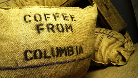 A burlap sack of Colombian coffee