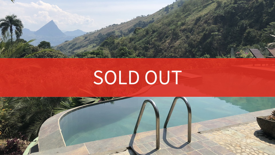 A beautiful view of a lush valley from an infinity pool, with a giant SOLD OUT message across the middle
