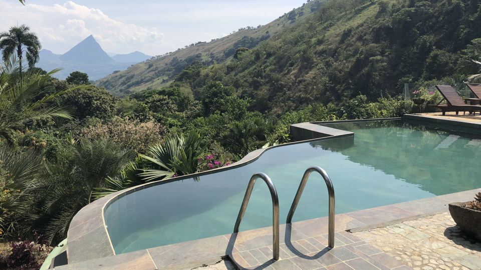 A beautiful view of a lush valley from an infinity pool
