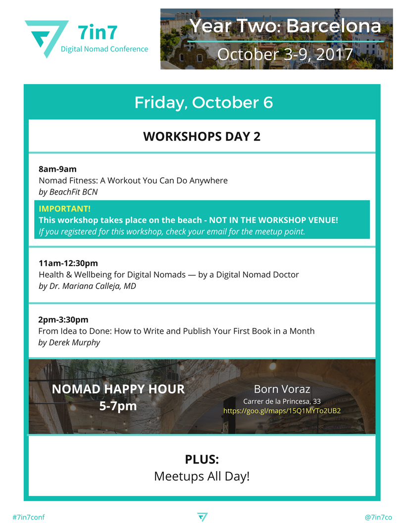 7in7 Digital Nomad Conference: Year Two Schedule